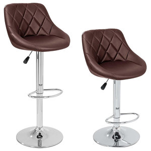 2 Bar Stools Set Upholstered, Faux Leather, Footrest, Adjustable Height, Brown