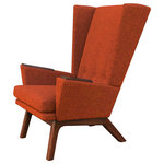 Lewis Interiors - Rust Orange Upholstered Wingback Mid Century Modern Handcrafted Lounge Chair, Wo - Our Lewis Interiors Lewis Tall Lounger (LTL) chair is superb! Featuring a sleek high-back MCM design, our LTL chair is definitely a conversation piece to add to your collection! Leave the fluffy couches and cookie-cutter chairs to the rookies!  Lewis Interiors: The Classic Collection -  Handcrafted quality.  Classic design.  Timeless Style.