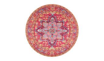 Vintage Blooming Rosette Round Pink Area Rug, 153 cm