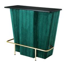 Eichholtz Bolton Velvet Bar Cart, Green