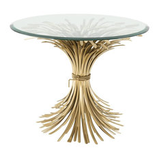 Sheaf Wheat Side Table | Eichholtz Bonheur L Gold 36-inchD X 28-inchH | 90D X 70H (Cm)