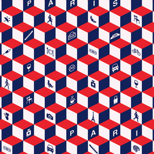 Paris Cubes Wallpaper Roll, Red, White and Blue, 48x1000 cm