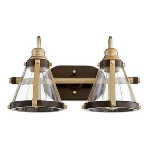Quorum Lighting 587-2-8086 Vanity Light, Aged Brass With Oiled Bronze