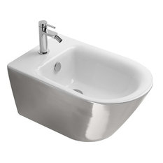 Gold and Silver Newflush Wall-Hung Bidet, Silver/White Gloss
