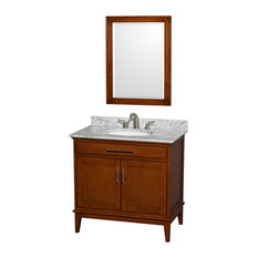 "Hatton 36"" Light Chestnut Single Vanity, White Carrera Marble Top and Oval Sink"