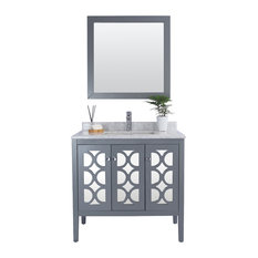 "Mediterraneo Collection Vanity, Gray, 36"", White Carrera Marble"