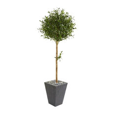 5.5-Ft. Olive Topiary Artificial Tree in Slate Planter