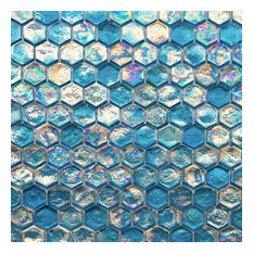"12""x12"" Iridescent Hexagon Glass Mosaic Tile, Turquoise Blue"