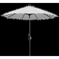 9' Aluminum Market Umbrella Push Tilt, Matte Black, Olefin, Gray White Stripe