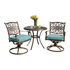"""Traditions 3-Piece Bistro Set, Blue With 32"""" Cast-Top Table"""