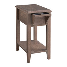 1 Drawer with 2 Glass Holders Wooden Side Table Walnut Oak by Benjara