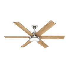 "Hunter 60"" Warrant Ceiling Fan with Light, Brushed Nickel"