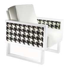 Twist Modern Houndstooth Leather Lounge Chair