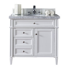 "Brittany 36"" Cottage White Single Vanity 3CM Snow White Quartz Top"