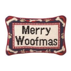 "12""x8"" Merry Woofmas Needle Point Blown-in Fill Pillow"