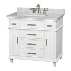 "36"" Single Bathroom Vanity in White w/ White Carrera Marble Top, Undermount Sink"