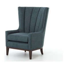 Chauncey Wing Chair, Peacock Blue