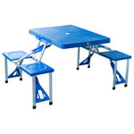 Outsunny - Outsunny Outdoor Portable Suitcase Folding Picnic Table With 4 Seats, Blue - Want to make it a day to remember? Add this portable travel picnic table from Outsunny to your family's collection to make setup, transport, and storage a breeze. It folds down to the size of a suitcase so it's a snap to bring it with you on the go. You'll appreciate the built-in umbrella hole which allows you to provide shade on especially sunny days or as a nice-looking touch throughout the year. It's handy for any activity, whether you're out camping, spending a day together at the park, or catching a bite to eat outdoors. It even makes a great game or craft table for the kids. When you're finished, the table simply folds back together into that compact suitcase carrying case so it's easy to pack away until your next fun activity or event.