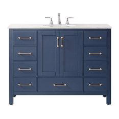 Gela 48-inch Single Vanity Royal Blue W/ Carrara White Marble Countertop No Mirror