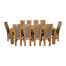 Kuba Chunky Oak Dining Table With 10 Stanford Chairs, 220 cm
