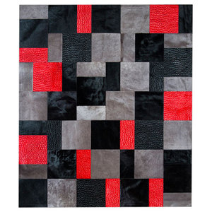 Patchwork Leather Cubed Cowhide Rug, Red Rivoli, 210x300 Cm