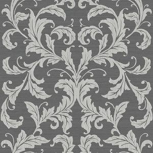 Linear Damask Wallpaper, Light and Dark Grey