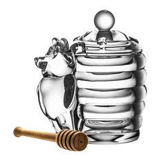 Szarlota Crystal Glass Honey Pot and Dipper, 2-Piece Set