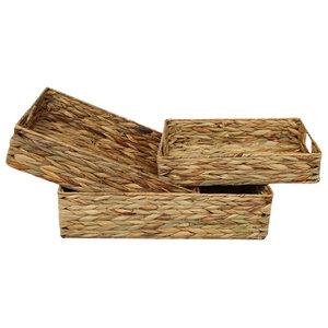 Water Hyacinth Shallow Rectangular Storage Basket, Set of 3