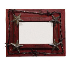 "Painted Distressed Wood With Barbwire And Stars Picutre Frame, Red, 8""x10"""