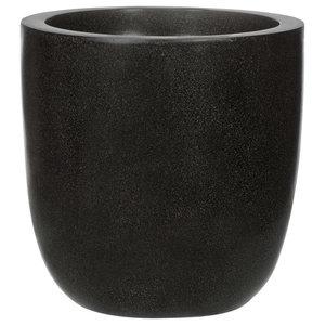 Round Egg Fiberstone Contemporary Black Planter, 26x28 CM