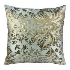 "Lorenzo Throw Pillow, Light Teal and Gold 18""x18"""