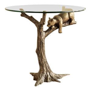 Sleepy Bear Hand Painted Aluminum Glass Top End Table