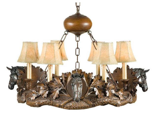3 horse head chandelier traditional chandeliers by lodgeandcabins 3 horse head chandelier aloadofball Choice Image