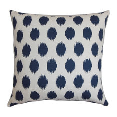 "Faustine Ikat Pillow Navy Blue 18""x18"""