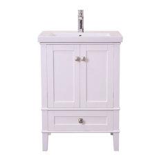 Elegant Decor Aqua 24-inch Single Bathroom Vanity Set White