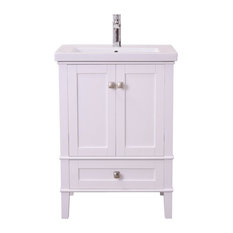 "Elegant - Elegant Decor Aqua 24"" Single Bathroom Vanity Set, White - Bathroom Vanities"