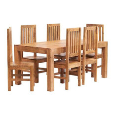Santiago Light Mango 7-Piece Dining Table Set, Wooden Chairs, Wooden Chairs