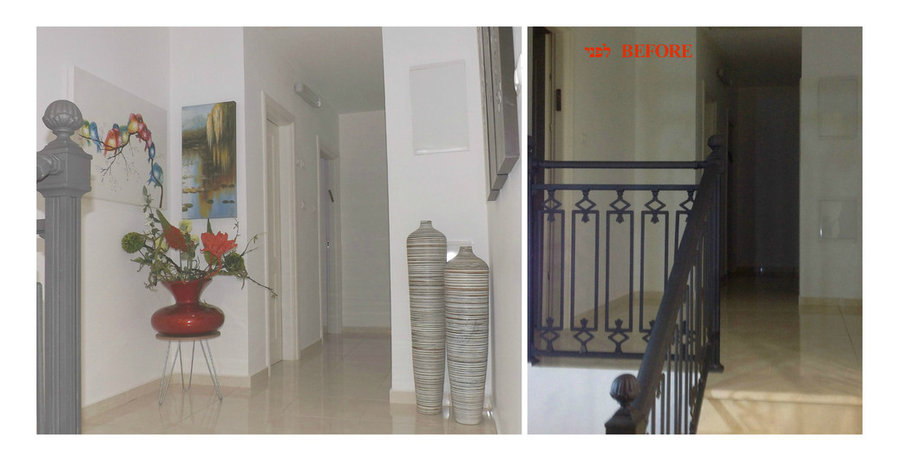 styling of a small space up the stairs-very visible from salon