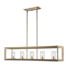 Smyth Linear Pendant, Clear Glass, White Gold