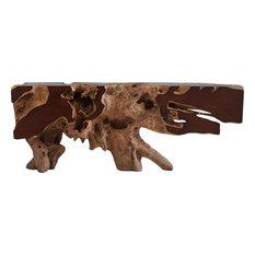 Freeform Console Table - Brown Faux Bois Large