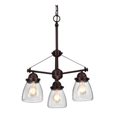 Yellowstone 3-Light Oil Rubbed Bronze Chandelier With Seeded Glass Shade