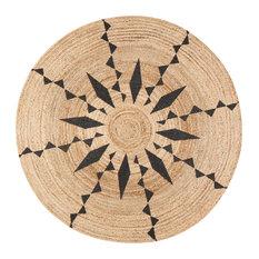 Jute Round Tribal Line Black Print, 4' Round