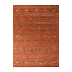 Rugsotic Carpets Hand Knotted Loom Wool Contemporary Area Rug, Orange, 8'x10'