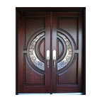 "Exterior Front Entry Double Wood Door M580E 36""x80""x2, Right Hand Swing In"