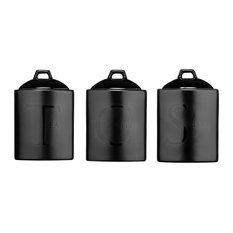 Premier Housewares Black Ceramic Text Tea, Coffee and Sugar Storage Jars