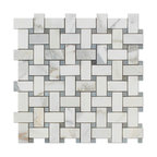 "12""x12"" Calacatta Gold Italian Marble Honed Basketweave Mosaic Tile, Blue Dots"