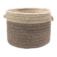 "Chunky Natural Wool Dipped Basket, Dark Gray/Light Gray, 24""x14"""