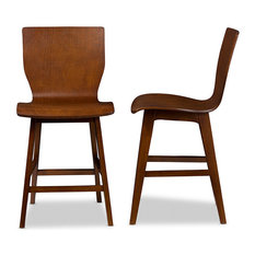 mid century modern bar stools. Baxton Studio - Elsa Bent Wood Counter Stool, Walnut Dark Brown, Set Of 2 Mid Century Modern Bar Stools
