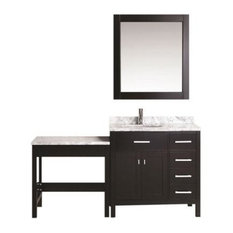"London 36"" Single Sink Vanity Set With One Make up Table, Espresso"