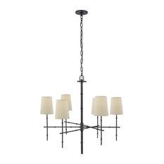 Visual Comfort Lighting Medium Modern Bamboo Chandelier, Bronze